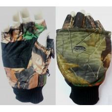 Перчатки варежки (оксф/флис) утепл усил.ПВХ лад, тр.манжета,  лес