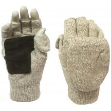 Перчатки варежки вяз/флис, усил.ладонь, беж