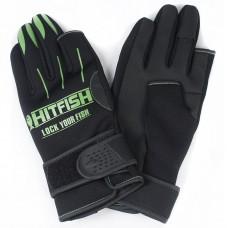 Перчатки HITFISH Glove-01 неопрен/полиуретан 2открыт.пал черн/зелен, р.L
