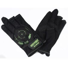 Перчатки HITFISH Glove-02 полиэстер/силикон.принт 3открыт.пал черн/зелен, р.L