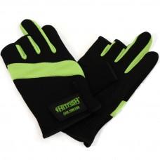 Перчатки HITFISH Glove-03 неопрен/полиэстер/ПВХ 3открыт.пал черн/зелен, р.L