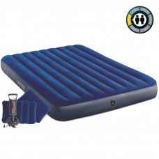 Матрац надувн флок INTEX 152x203x25см  Blue /2подушки, мех.насос 68612/  (3)