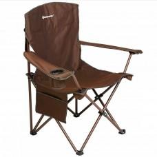 Кресло складн NISUS 60/96х60х47/99 сталь до140кг, коричн с карманом, подстаканником