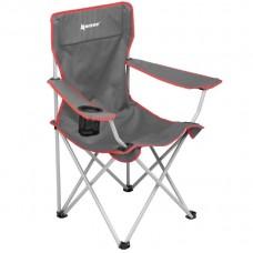 Кресло складн NISUS 52/85х50х44/90 сталь до100кг, сер/красн с подстаканником