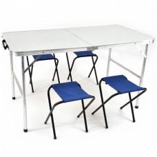 Стол складн Кедр +4табурета TABS-04  60х120х68  ХДФ/алюм22х1.2