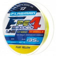 Нить Flagman PE Hybrid F4 135м yellow fluo 0.12  6.4кг