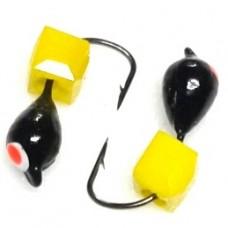Мормышка вольфрам Нимфа/куб D3 черн/кр.точк, желт 0.4г  (12)