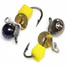 Мормышка вольфрам Дробь/куб желт D3.5 с цепочк металлик 0.75г (10)