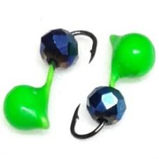 Мормышка вольфрам Дробь/крист D2 зелен, синий 0.25г  (10)