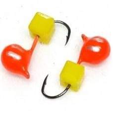 Мормышка вольфрам Дробь/куб D3 оранж-полос, желт 0.53г  (10)
