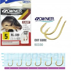 Крючок с поводком Owner RL-330 Carp Gold 70см №5  8шт