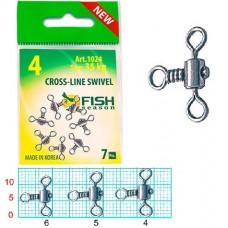 Вертлюг Fish Season на 3 напр CrossLine Swivel № 4 (35кг) 7шт (10)